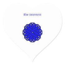 Blue Flower Ribbon Heart Sticker