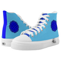 Blue Flower Ribbon High-Top Sneakers