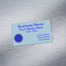 Blue Flower Ribbon Magnetic Business Card