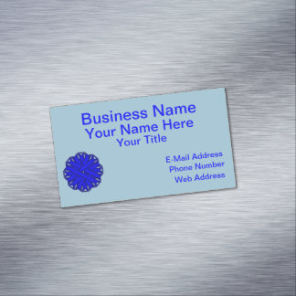 Blue Flower Ribbon Magnetic Business Card