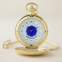 Blue Flower Ribbon (Mf) by K Yoncich Pocket Watch