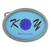 Blue Flower Ribbon Oval Belt Buckle