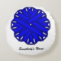 Blue Flower Ribbon Round Pillow