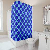 Blue Flower Ribbon Shower Curtain