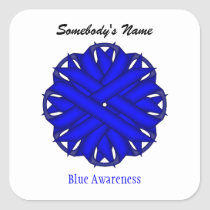 Blue Flower Ribbon Square Sticker