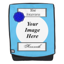 Blue Flower Ribbon Template by Kenneth Yoncich Backpack