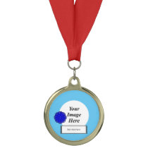 Blue Flower Ribbon Template by Kenneth Yoncich Medal