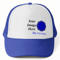 Blue Flower Ribbon Template by Kenneth Yoncich Trucker Hat
