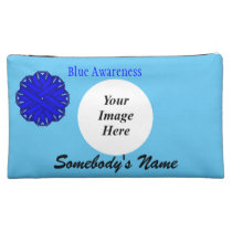 Blue Flower Ribbon Template Cosmetic Bag