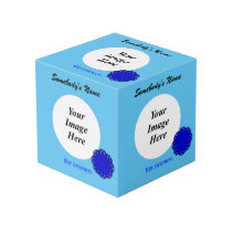 Blue Flower Ribbon Template Cube
