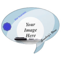 Blue Flower Ribbon Template Dry Erase Board
