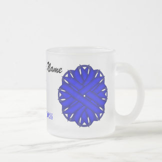 Blue Flower Ribbon Template Frosted Glass Mug