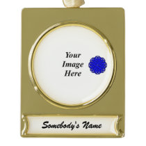 Blue Flower Ribbon Template Gold Plated Banner Ornament
