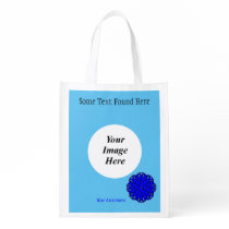Blue Flower Ribbon Template Grocery Bag
