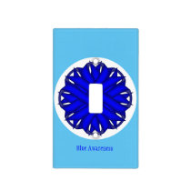Blue Flower Ribbon Template Light Switch Cover