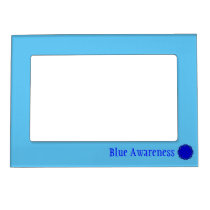 Blue Flower Ribbon Template Magnetic Photo Frame
