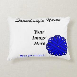 Blue Flower Ribbon Template Accent Pillow