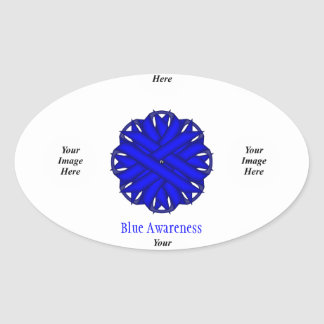 Blue Flower Ribbon Template Oval Sticker