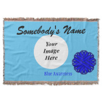 Blue Flower Ribbon Template Throw Blanket