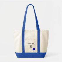 Blue Flower Ribbon Template Tote Bag