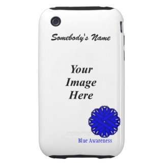 Blue Flower Ribbon Template Tough iPhone 3 Case
