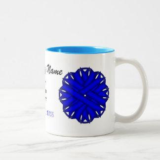 Blue Flower Ribbon Template Two-Tone Mug