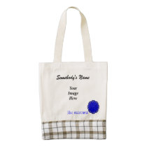 Blue Flower Ribbon Template Zazzle HEART Tote Bag