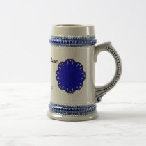Blue Flower Ribbon Tmpl by Kenneth Yoncich Beer Stein