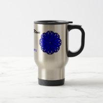 Blue Flower Ribbon Tmpl by Kenneth Yoncich Travel Mug