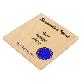 Blue Flower Ribbon Tmpl by Kenneth Yoncich Wood Coaster