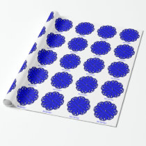 Blue Flower Ribbon Wrapping Paper