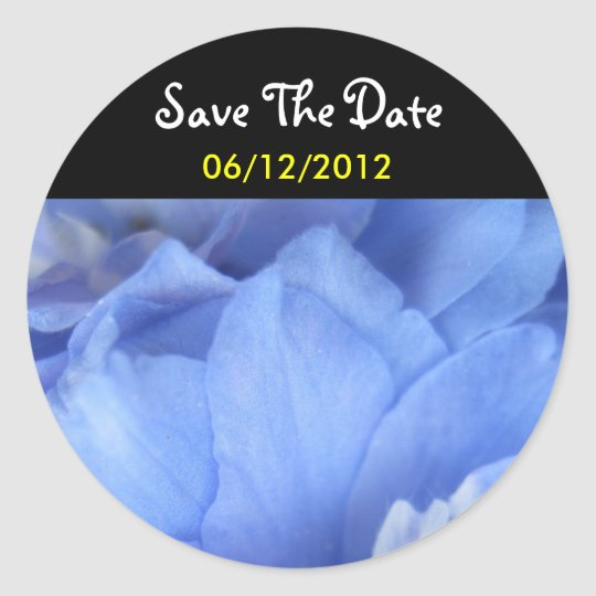 Blue Flower Save The Date Wedding Sticker