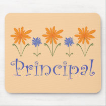 Blue Flower School Principal Gift Mouse Pad