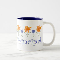 Blue Flower School Principal Gift Two-Tone Coffee Mug