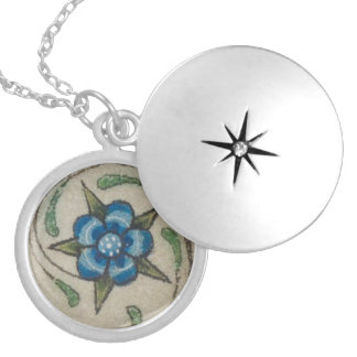 Blue Flower Silver Plated Necklace
