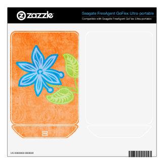 Blue Flower Skin For FreeAgent GoFlex