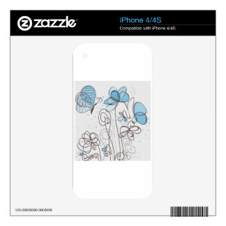 Blue flower skin for iPhone 4S