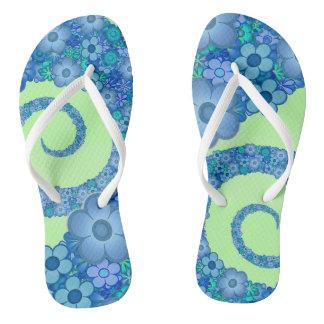 Blue Flower Spiral Flip Flops