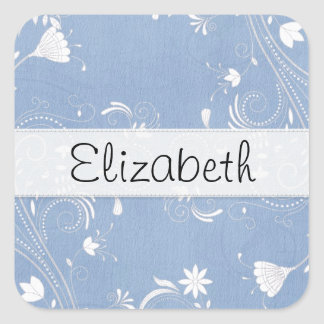Blue Flower Swirls White Vellum Stitched Strip Sticker