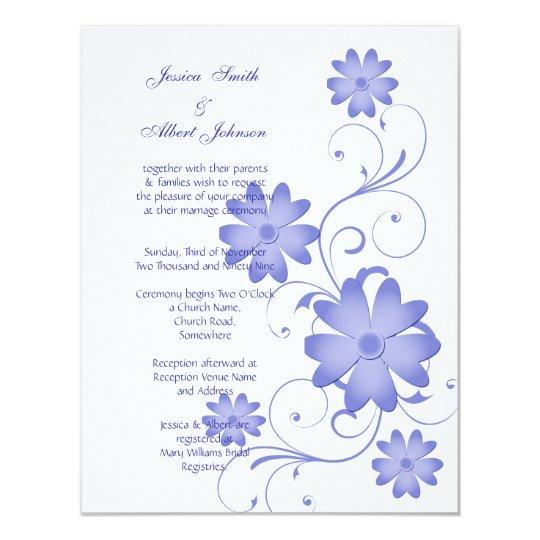 Blue Flower Template Wedding Invitation | Zazzle.com