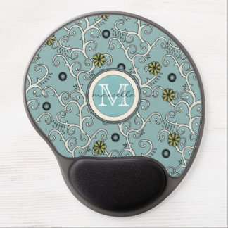Blue Flower Vines Background Monogram Gel Mouse Pad