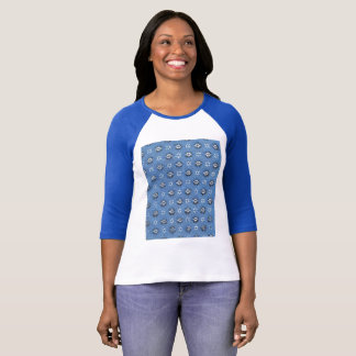 Blue flower Vintage T-shirt Design Paper Pattern