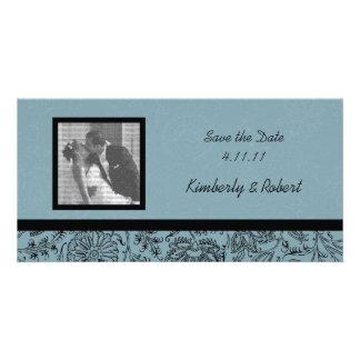 Blue Flower Wallpaper Wedding Save the Date Card