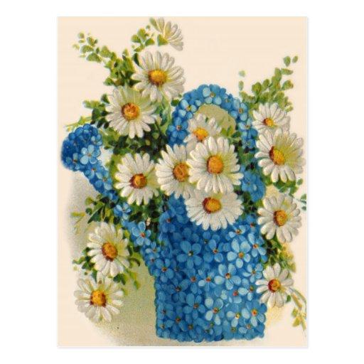Blue Flower Watering Can Postcard