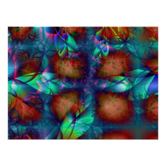 Blue Flower Windows Room Accent Art Posters