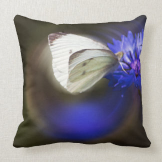 blue flower with butterfly pillow