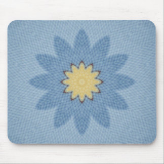 Blue flower with yellow center mouse pad
