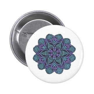 Blue flower woven pattern 2 inch round button
