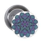 Blue flower woven pattern pinback buttons
