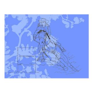 Blue Flowered Barrel Racer Postcard